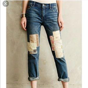 Anthropologie PILCRO patchwork jeans